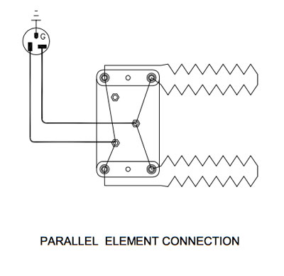 Parallel element connection for a kiln with two elements