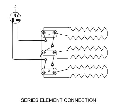 Series element connection for a kiln with three elements