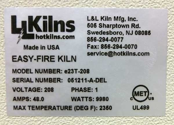 Photo of Kiln Data Nameplate